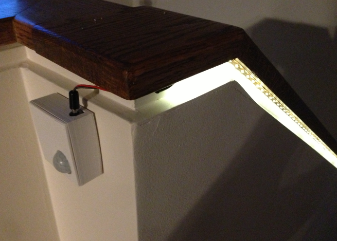 Lighting Basement Washroom Stairs: Battery-powered Motion Sensor For LED Light Strip